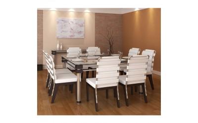 Tabano cadeiras e móveis - mesa ângra - Mesa Estrutura Tubular com Tampo de Vidro e Detalhes em Madeira Tingida