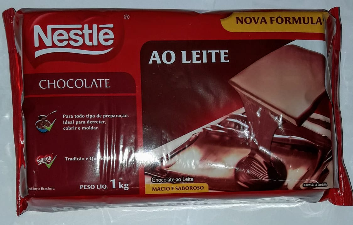 Barra Chocolate Nestle 1kilo ao Leite - Barra Chocolate Nestle 1kilo ao Leite