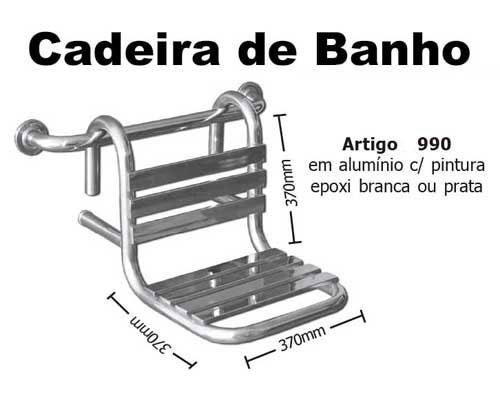 Cadeira De Banho Removível 37x37 Cm Com Pintura Epóxi Branca - Barras de Apoio